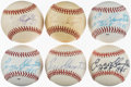 Baseball Collectibles:Balls, 1980's Enos Slaughter Single Signed Baseballs Lot of 6 from The Enos Slaughter Collection. ...