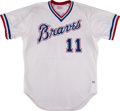 Baseball Collectibles:Uniforms, 1985 Bob Horner Game Worn Atlanta Braves Jersey. ...