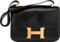 "Luxury Accessories:Bags, Hermès 24cm Black Calf Box Constance Bag with Gold Hardware. O Circle, 1985. Condition: 3. 9"" Width x 6"" Height x ..."