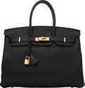 """Luxury Accessories:Bags, Hermès 35cm Black Togo Leather Birkin Bag with Gold Hardware. L Square, 2008. Condition: 3. 14"""" Width x 10"""" Height..."""