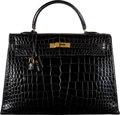 "Luxury Accessories:Bags, Hermès 35cm Shiny Black Crocodile Sellier Kelly Bag with Gold Hardware. X, 1968. Condition: 3. 14"" Width x 9.5"" He..."
