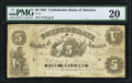 Confederate Notes:1861 Issues, T11 $5 1861 PF-1 Cr. 42 PMG Very Fine 20.. ...
