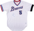 Baseball Collectibles:Uniforms, 1984 Bob Horner Game Worn & Signed Atlanta Braves Jersey & Cap Lot of 2.... (Total: 2 items)
