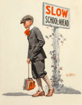 Mainstream Illustration, George Brehm (American, 1878-1966). Boy Trudging to School, The Saturday Evening Post cover, September 5, 1925. Oil on c...
