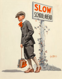 George Brehm (American, 1878-1966) Boy Trudging to School, The Saturday Evening Post cover, September 5