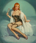 Mainstream Illustration, Harry Ekman (American, 1923-1999). My Assets - 34-24-36, calendar illustration, 1960. Oil on canvas. 30 x 25 in.. Signed...