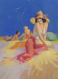 Mainstream Illustration, Rolf Armstrong (American, 1889-1960). Bathing Beauty in Sun Hat, circa late 1930s-40s. Pastel on board. 40 x 30 in.. Sig...
