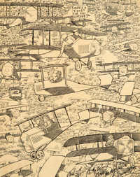Winsor McCay (American, 1871-1934) When Fords Begin to Fly, circa 1925 Ink on paper 13.25 x 10.5