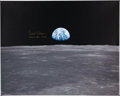 "Explorers:Space Exploration, Michael Collins Signed Large Apollo 11 ""Earthrise"" with Lunar Module Color Photo on Canvas. ..."