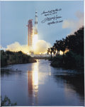 Explorers:Space Exploration, Fred Haise Signed Large Apollo 13 Launch Color Photo on Canvas. ...