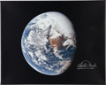 Explorers:Space Exploration, Charlie Duke Signed Large Apollo 16 Earth Image Color Photo on Canvas. ...