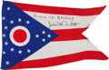 Explorers:Space Exploration, Apollo 9 Flown Ohio State Flag Originally from the Personal Collection of Mission Commander James McDivitt, Signed and Certifi...