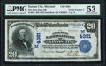 National Bank Notes:Missouri, Kansas City, MO - $20 1902 Date Back Fr. 645 The Inter-State NB Ch.# (M)4381 PMG About Uncirculated 53.. ...