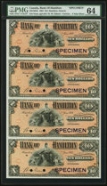 Canadian Currency, Hamilton, ON- Bank of Hamilton $10-$10-$10-$10 2.1.1904 Ch.#345-18-04s Specimen Uncut Sheet of 4 PMG Choice Uncirculated ...
