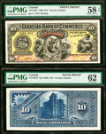 Canadian Currency, Toronto, ON- Canadian Bank of Commerce $10 2.1.1888 Ch.#75-14-16P1; P2 Front and Back Uniface Proofs PMG Choice A...