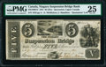 Canadian Currency, Queenston, UC- Niagara Suspension Bridge Bank $5 1.7.1841 Ch.#535-10-08-12 PMG Very Fine 25.. ...