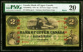 Canadian Currency, Toronto, UC- Bank of Upper Canada $2 1.1.1861 Ch.# 770-22-06-04a Barrie Overprint PMG Very Fine 20.. ...