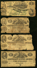 Confederate Notes:Group Lots, A Group of T-42 (3) and T-45 (1) Blanton Duncan Produced $1 and $2 Notes 1862 Fair or better.. ... (Total: 4 notes)