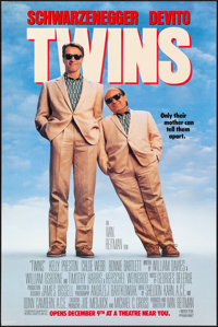 """Twins (Universal, 1988). Rolled, Overall: Very Fine. One Sheets (3) (26.5"""" X 39.75"""") SS & DS, 3 Styles. Co..."""