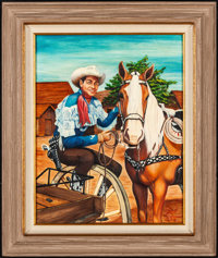 """Roy Rogers (1984). Near Mint. Acrylic Painting on Canvas (30"""" X 40"""") Snelling Johnson Artwork. Western"""