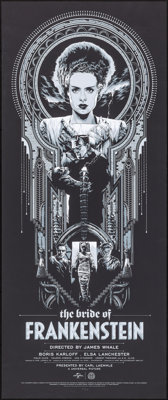 """The Bride of Frankenstein (Mondo, 2018). Rolled, Very Fine+. Numbered Limited Edition Screen Print Poster (15"""" X 36..."""