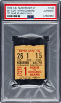 Football Collectibles:Tickets, 1959 Vince Lombardi First Game Packers vs. Bears Ticket Stub, PSA Authentic - Pop 1/4. ...