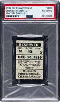 Football Collectibles:Tickets, 1939 NFL Championship Game Packers vs. Giants Ticket Stub, PSA Authentic....