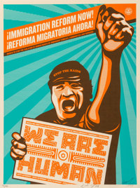 Shepard Fairey (b. 1970) Immigration Reform Now!, 2009 Screenprint in colors on speckled cream paper