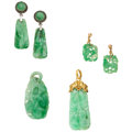 Estate Jewelry:Lots, Jadeite Jade, Marcasite, Gold, Silver Jewelry. ... (Total: 4 Items)