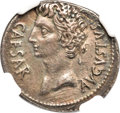 Ancients:Roman Imperial, Ancients: Augustus (27 BC-AD 14). AR denarius (19mm, 3.58 gm, 7h).NGC XF 5/5 - 2/5, smoothing....
