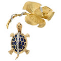 Estate Jewelry:Brooches - Pins, Diamond, Multi-Stone, Gold Brooches. ... (Total: 2 Items)