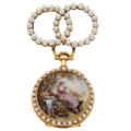 Estate Jewelry:Watches, Swiss Lady's Cultured Pearl, Seed Pearl, Enamel, Gold Pendant Watch. ...
