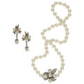 Estate Jewelry:Suites, Diamond, Cultured Pearl, White Gold Jewelry Suite. ... (Total: 2Items)