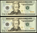 Small Size:Federal Reserve Notes, Fr. 2090-K*; L* $20 2004 Federal Reserve Notes. Choice Crisp Uncirculated.. ... (Total: 2 notes)