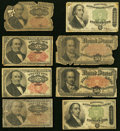 Eight Circulated Fractional Notes Totaling $3.00 in Face Value