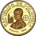 """Colombia, Colombia: Republic 5-Piece Lot of gold Proof """"International Eucharist Congress"""" Peso Issues 1968, ... (Total: 5 coins)"""