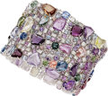 Estate Jewelry:Bracelets, Multi-Color Sapphire, Diamond, White Gold Bracelet, Assil
