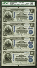 National Bank Notes:Montana, Geyser, MT - $10-$10-$10-$20 1902 Plain Back Fr. 632/658 The First NB Ch. # (W)10952 PMG About Uncirculated 53 EPQ U...