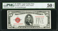 Fr. 1529* $5 1928D Legal Tender Note. PMG About Uncirculated 50 EPQ