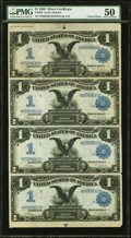 Large Size:Silver Certificates, Fr. 226 $1 1899 Silver Certificates Uncut Sheet PMG About Uncirculated 50.. ...