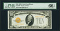Small Size:Gold Certificates, Fr. 2400 $10 1928 Gold Certificate. PMG Gem Uncirculated 66 EPQ.. ...