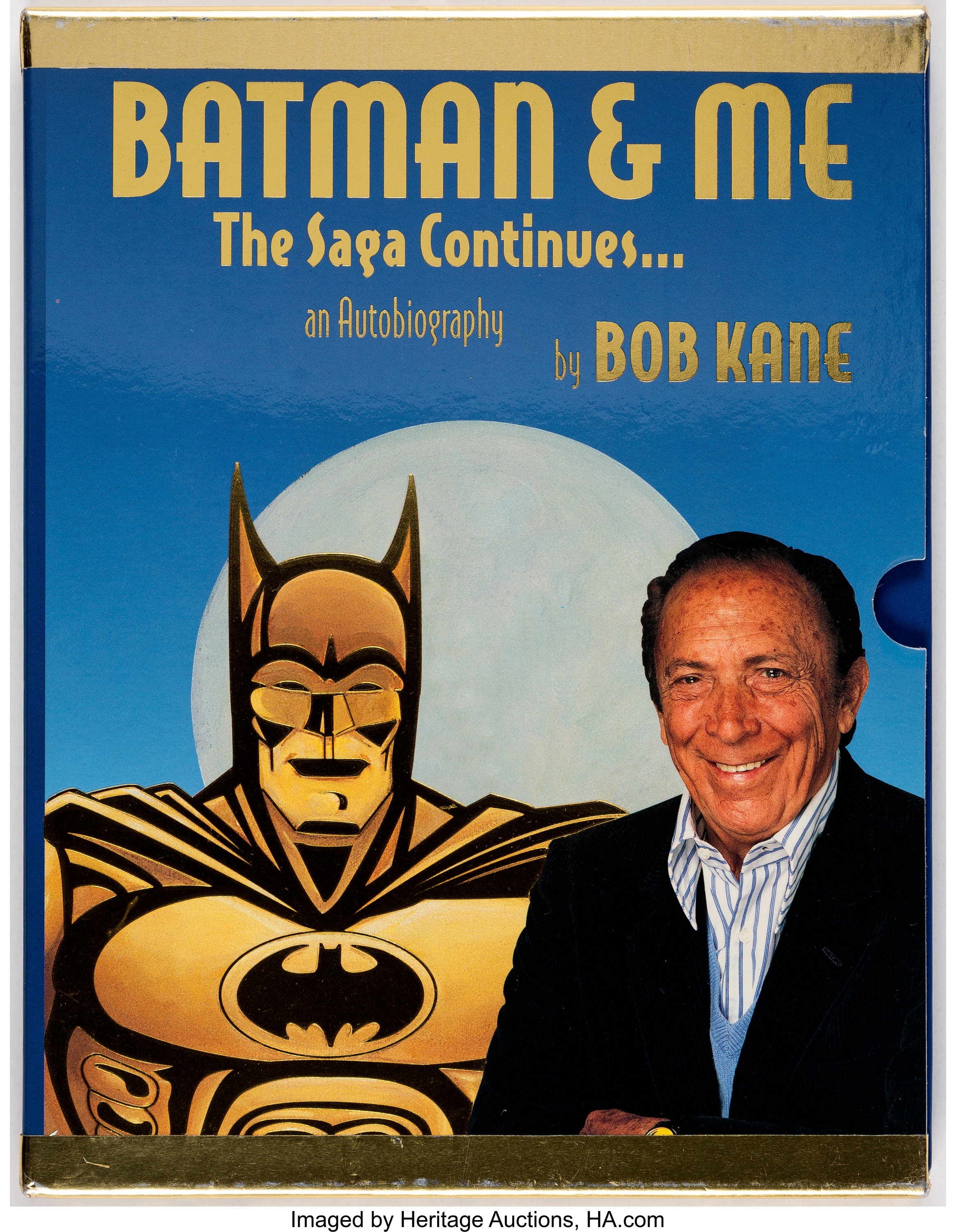 BATMAN gold sticker personally signed by BOB KANE Creator of Batman