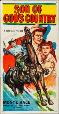 "Son of God's Country (Republic, 1948). Folded, Very Fine-. Three Sheet (41"" X 79.5""). Western"