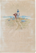 Works on Paper, Olaf Carl Seltzer (American, 1877-1957). Great Falls -- Montana, Lassoing, and Chair and Wagon Wheel Study (three wo...