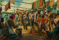 Fine Art - Painting, American, Mort Künstler (American, b. 1931). Midewiwin Ceremony of theOjibway Chippewa, 1977. Oil on canvas. 28 x 40 inches (71.1...