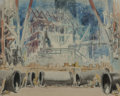 Fine Art - Work on Paper, Everett Shinn (American, 1876-1953). Construction, circa1911. Watercolor and charcoal on paper laid o...