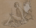 Fine Art - Work on Paper, Elihu Vedder (American, 1836-1923). Allegorical Figure withDouble Aulos. Charcoal and chalk on buff paper. 11-1/2 x 14-...