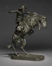 Frederic Remington (American, 1861-1909) The Broncho Buster #73, March 25, 1908 Bronze with greenish