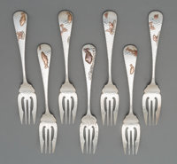 A Group of Seven Gorham Mfg. Co. Silver & Mixed Metal Fish Forks, Providence, Rhode Island, circa 1880 Marks: (lio...