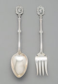Silver Flatware, American, An American Medallion Pattern Partial Gilt Coin Silver SaladServing Fork and Spoon with Bright-Cut Engraving, c... (Total: 2 )